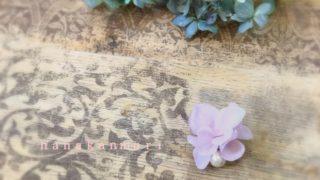 コットンパールと花びらピアスのモーブピンクの画像2