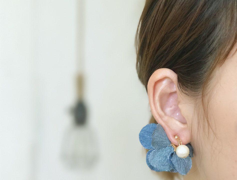 『コットンパールと花びら』の『denim blue』-1